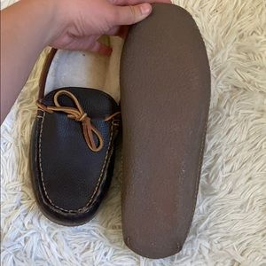 L.L. Bean Shoes - Men's LL Bean Sherpa lined leather slippers
